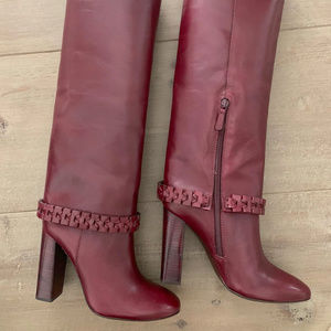 Tory Burch NEW Sarava Leather Knee Boot Red Agate